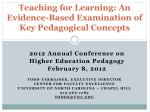 Teaching for Learning: An Evidence-Based Examination of Key Pedagogical Concepts