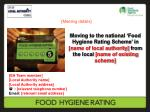 Moving to the national 'Food Hygiene Rating Scheme' in [name of local authority] from the local [name of existing sch