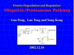Protein Degradation and Regulation Ubiquitin/Proteasome Pathway Guo Peng, Luo Tong and Yang Kong 2002.12.16