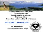 Dr. Declare Mushi Tumaini University- KCM College