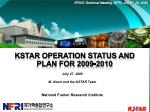 KSTAR Operation Status and Plan for 2009-2010