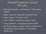 Physical Properties Lecture Min Lab 1