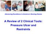 Advancing Excellence in America ' s Nursing Homes A Review of 2 Clinical Tools: Pressure Ulcer and Restraints