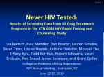 Never HIV Tested : Results of Screening Data from 12 Drug Treatment Programs in the CTN 0032 HIV Rapid Testing and Couns