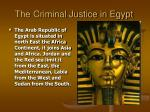 The Criminal Justice in Egypt