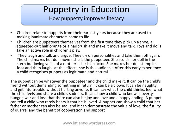 puppetry in education how puppetry improves literacy n.