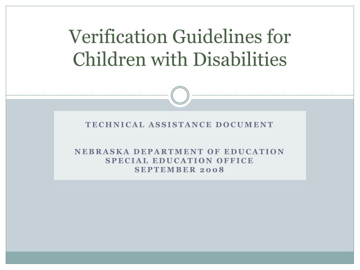 verification guidelines for children with disabilities n.