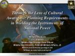 Through the Lens of Cultural Awareness: Planning Requirements in Wielding the Instruments of National Power