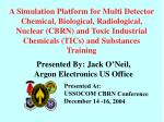 A Simulation Platform for Multi Detector Chemical, Biological, Radiological, Nuclear (CBRN) and Toxic Industrial Chemica