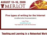 Five types of writing for the Internet (modified after the presentation)