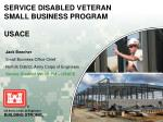 SERVICE DISABLED VETERAN SMALL BUSINESS PROGRAM USACE