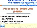 Applications of GW model , from mathematic equations to colorful graphics