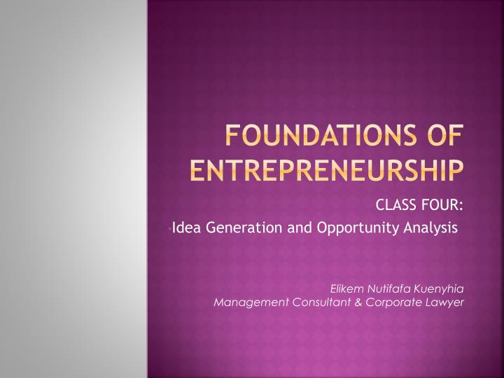 foundations of entrepreneurship n.