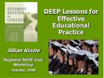 DEEP Lessons for Effective Educational Practice