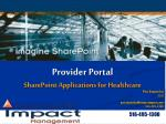 Provider Portal SharePoint Applications for Healthcare