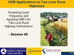 HSM Applications to Two-Lane Rural Highways