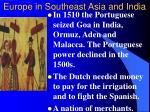Europe in Southeast Asia and India