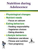 Nutrition during Adolescence