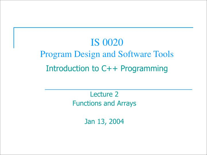 is 0020 program design and software tools introduction to c programming n.