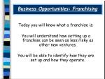 Business Opportunities: Franchising