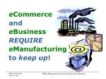 e Commerce and e Business REQUIRE e Manufacturing to  keep up !