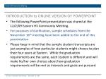 INTRODUCTION to ONLINE VERSION OF POWERPOINT
