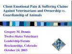 Client Emotional Pain & Suffering Claims Against Veterinarians and Ownership vs . Guardianship of Animals