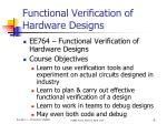 Functional Verification of Hardware Designs