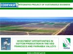 INVESTMENT OPPORTUNITIES IN COTTON PRODUCTION IN THE SÃO FRANCISCO AND PARNAÍBA VALLEYS