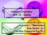 Honors Chemistry Unit 12 - Gases