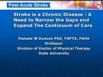 Stroke is a Chronic Disease : A Need to Narrow the Gaps and  Expand The Continuum of Care