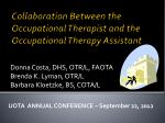 Collaboration Between the Occupational Therapist and the Occupational Therapy Assistant