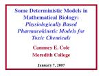 Some Deterministic Models in Mathematical Biology: Physiologically Based Pharmacokinetic Models for Toxic Chemicals