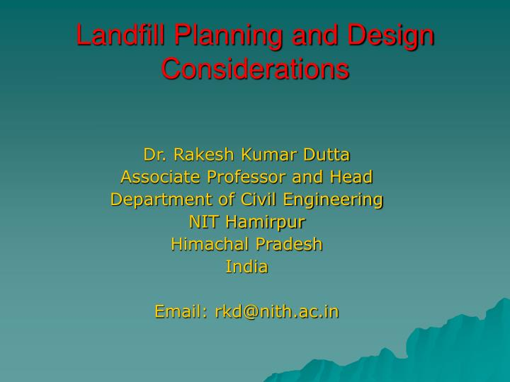 PPT - Landfill Planning and Design Considerations PowerPoint