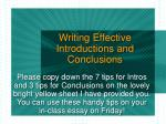 Writing Effective Introductions and Conclusions