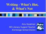 Writing - What's Hot,  & What's Not