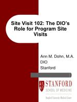 Site Visit 102: The DIO's Role for Program Site Visits