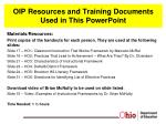 OIP Resources and Training Documents  Used in This PowerPoint