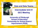 University of Pittsburgh School of Education Partnership for School District Improvement (PSDI)