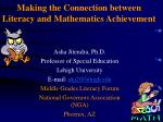 Making the Connection between Literacy and Mathematics Achievement