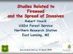Studies Related to Firewood and the Spread of Invasives