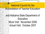 National Council for the Accreditation of Teacher Education and Alabama State Department of Education Mock Visit:  Novem