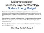 Micrometeorology Boundary Layer Meteorology Surface Energy Budget