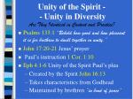 Unity of the Spirit -  - Unity in Diversity Are They Identical in Content and Practice?