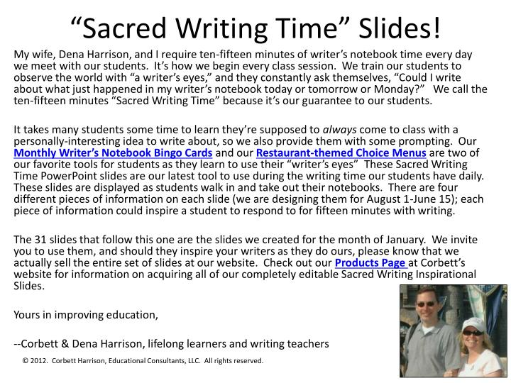 sacred writing time slides n.