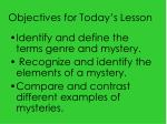 Objectives for Today's Lesson
