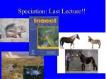 Speciation: Last Lecture!!