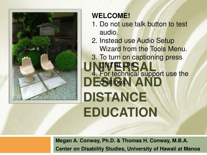 universal design and distance education n.