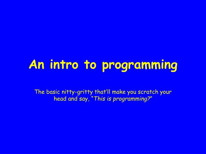an intro to programming n.