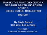 MAKING THE RIGHT CHOICE FOR A FIRE PUMP DRIVER AND POWER SOURCE; DIESEL ENGINE, OR ELECTRIC MOTOR? By Gayle Pennel Schir